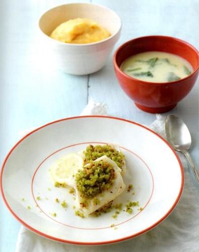 Sopa de Couve-flor com Espinafres e Peixe com Pur