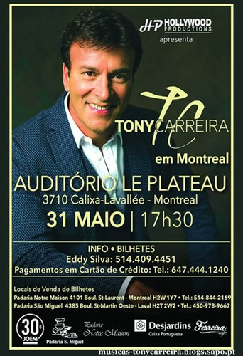 Tony Carreira em Montreal no Canadá 31-05-2015