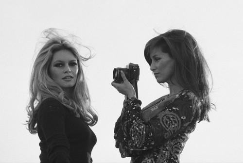 Brigitte Bardot with her friend Sveeva Vigeveno, 1