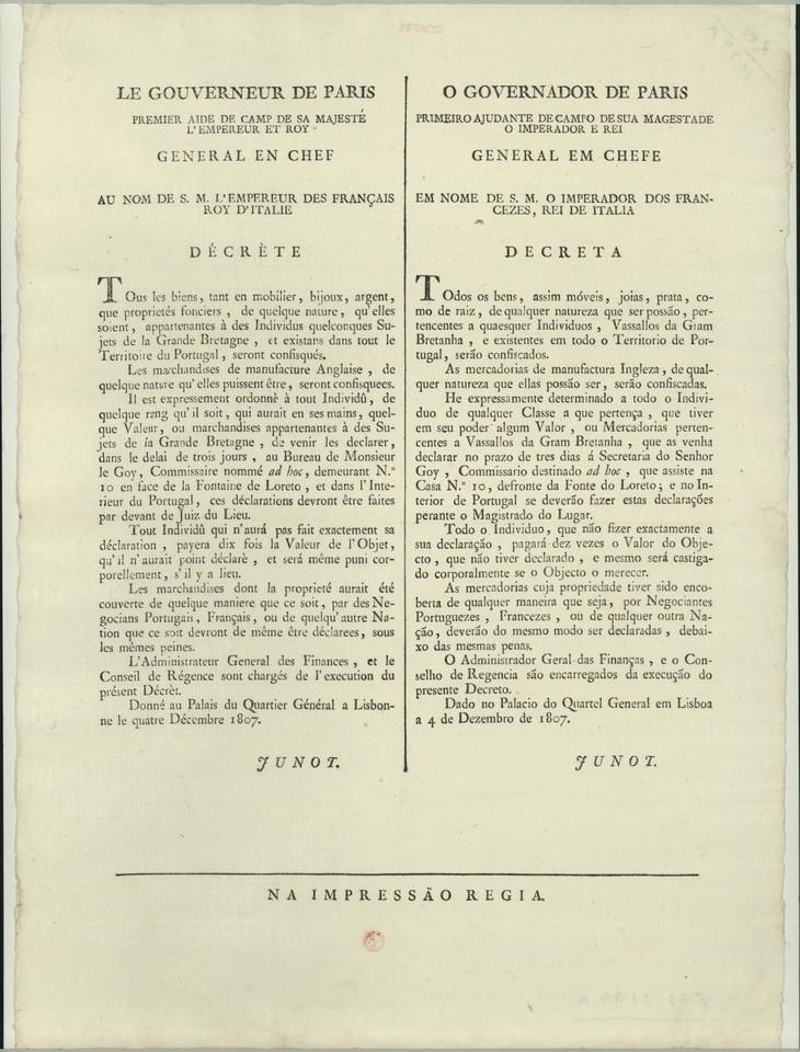 Decreto do General Junot, ordenando a confiscaçã