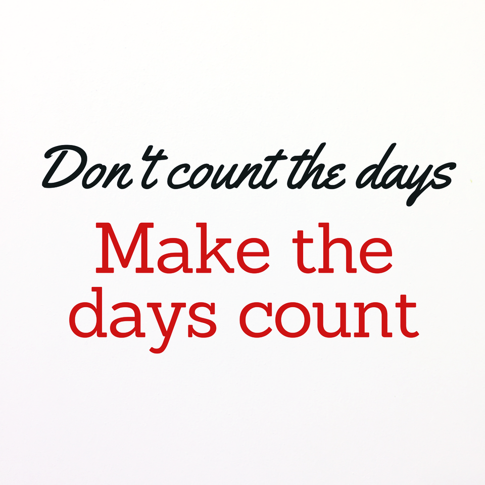 Make the days count quote