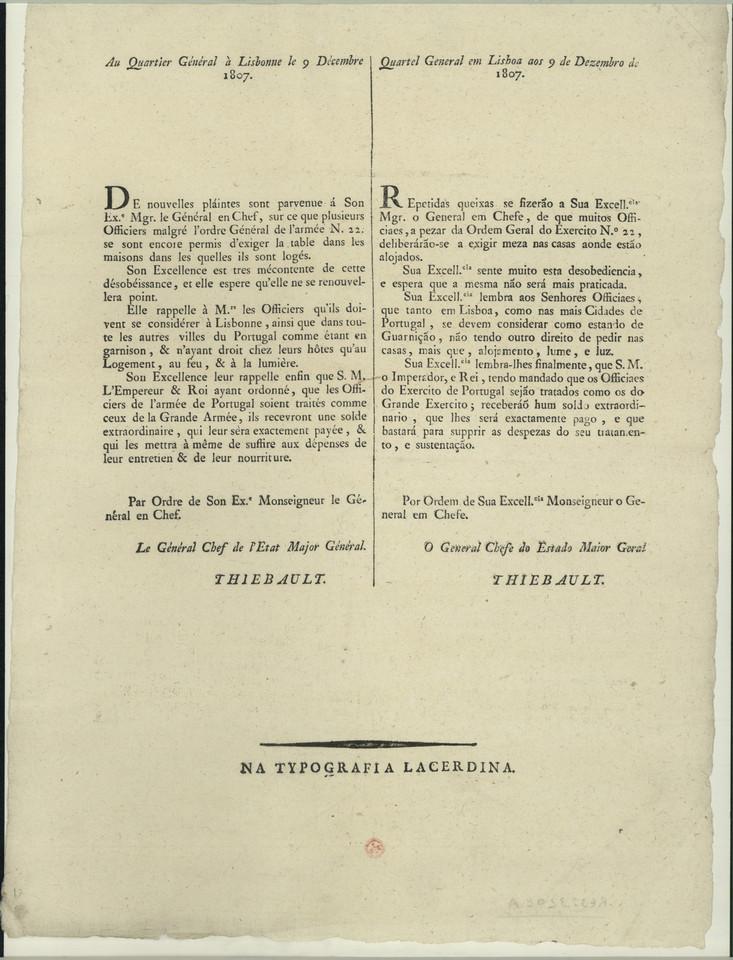 Ordem do General Thiebault, lembrando que os Ofici