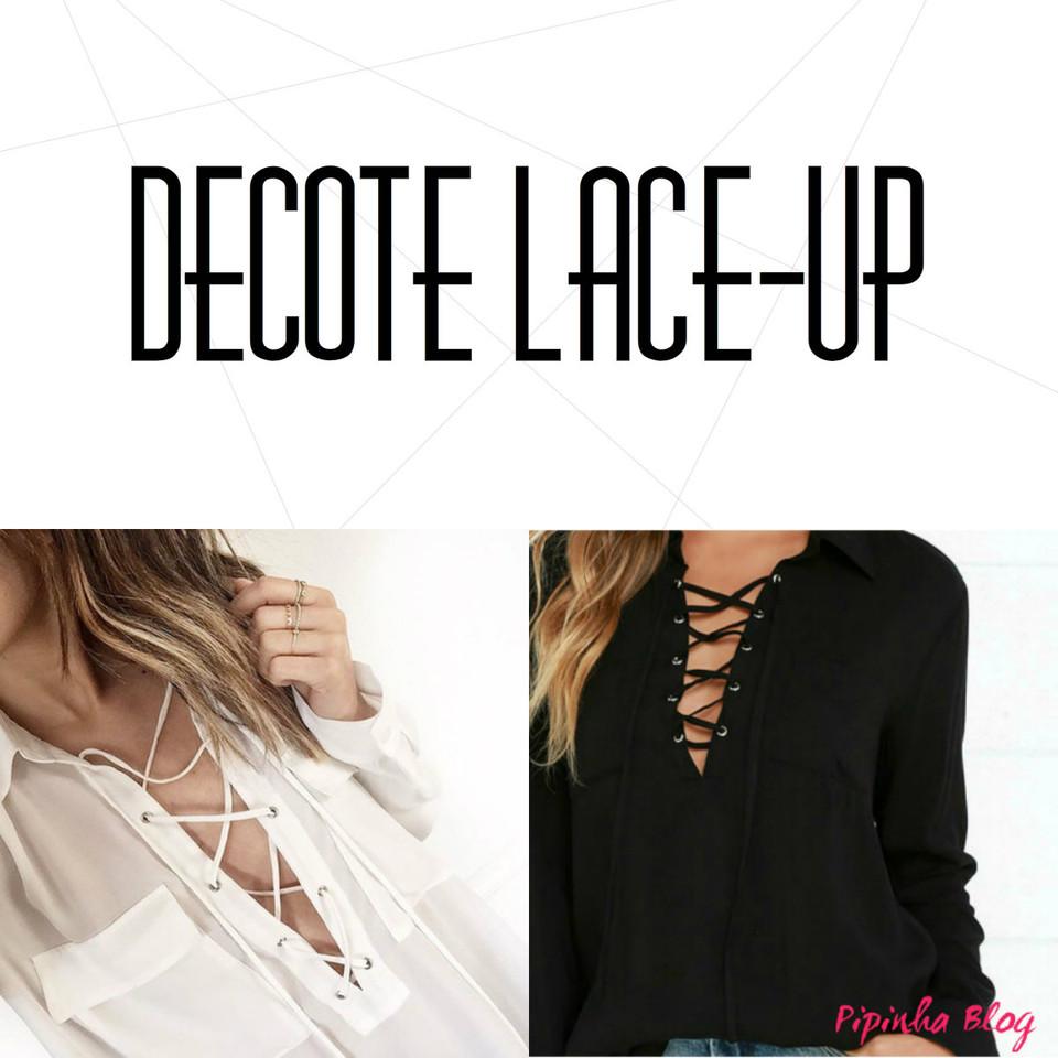 decote lace-up