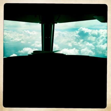 Võo para Lisboa no cockpit