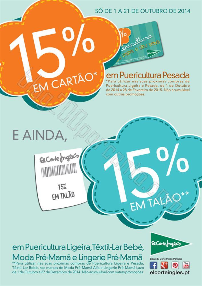 15% de desconto EL CORTE INGLÉS de 1 a 21 outubro - Puericultura
